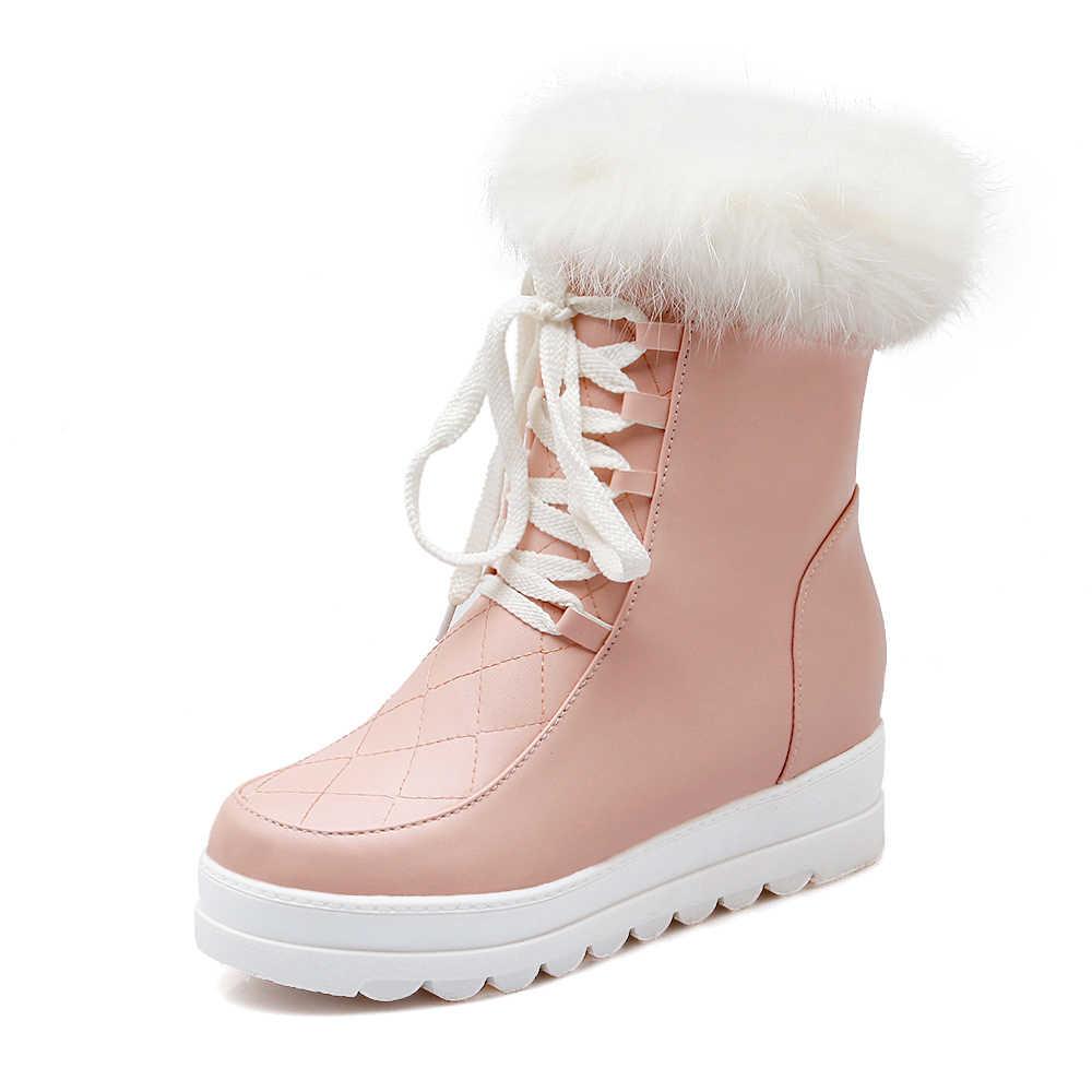 2018 جديد مثير الفراء الكاحل الشتاء الثلوج الحذاء يصل فتاة أحذية عالية الكعب الأحذية منصة حذاء امرأة كبيرة الحجم 34-43