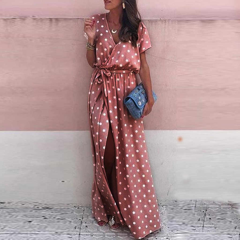 Fashsiualy Summer Sexy Dress Women Sexy Pink Wave Point V-Neck Maxi Dress Fork Opening Long Dress With Belt vestidos 2019 festa