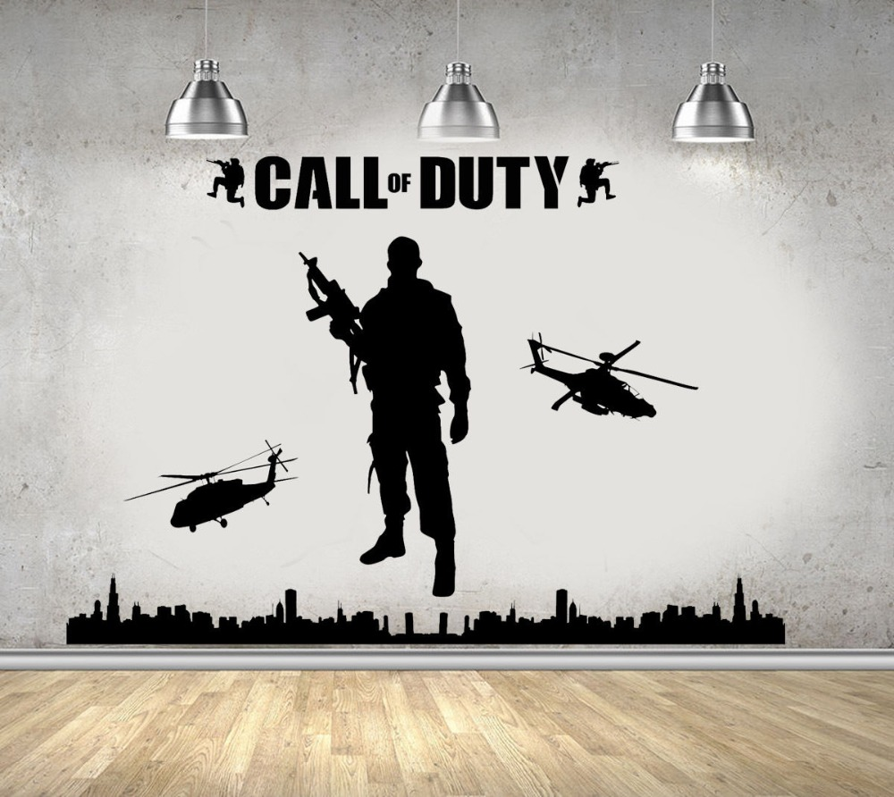 Large Size 200x135cm Call Of Duty Style Army Military Soldier Mural Wall Decoration stencils for Teenboys Bedroom Poster NY-303
