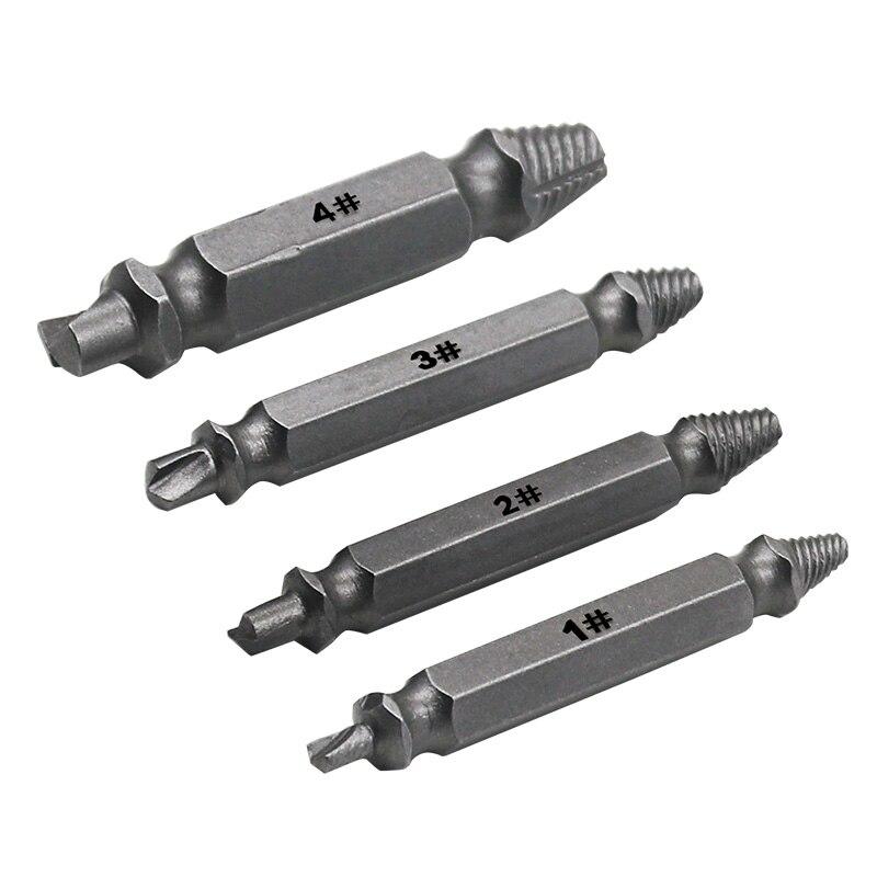 4 Uds Extractor de tornillos dañados juego de guías de broca velocidad rota salida fácil perno herramienta removedor de tornillo