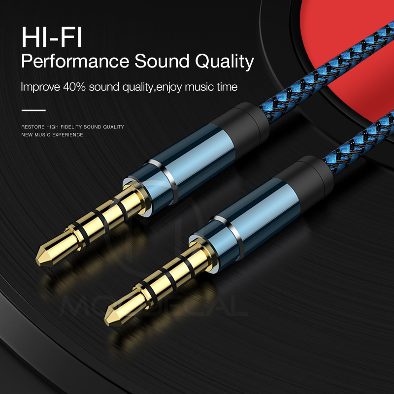 MOOJECAL For Xiaomi Audio Jack Audio Cable 3.5mm Speaker Line Aux Cable For iPhone 6 Samsung galaxy s8 For Car Headphone