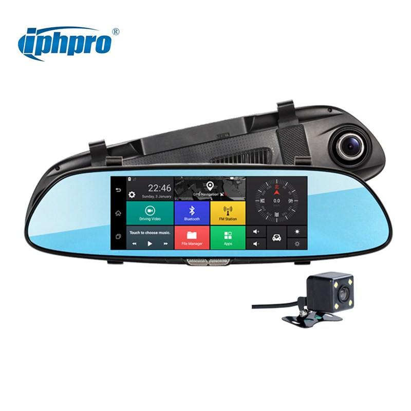 Iphpro 7 3G Car Camera DVR GPS Bluetooth Dual Lens Rearview Mirror Video Recorder FHD 1080P Automobile DVR Mirror Dash cam 5 inch car camera dvr dual lens rearview mirror video recorder fhd 1080p automobile dvr mirror dash cam