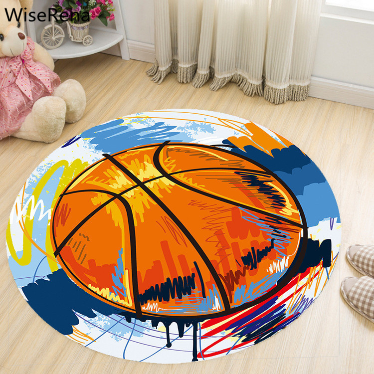 Basketball Round Carpet Living Room Parlor Children Kids Bedroom Chair Rugs Toilet Bathroom Mat Boy Decorations Carpet tapetes