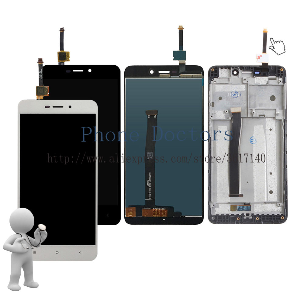 5.0'' New Touch Screen Digitizer Glass + LCD Display Assembly + Frame Cover For Xiaomi Redmi 4A / Hongmi 4A / Red Rise 4A