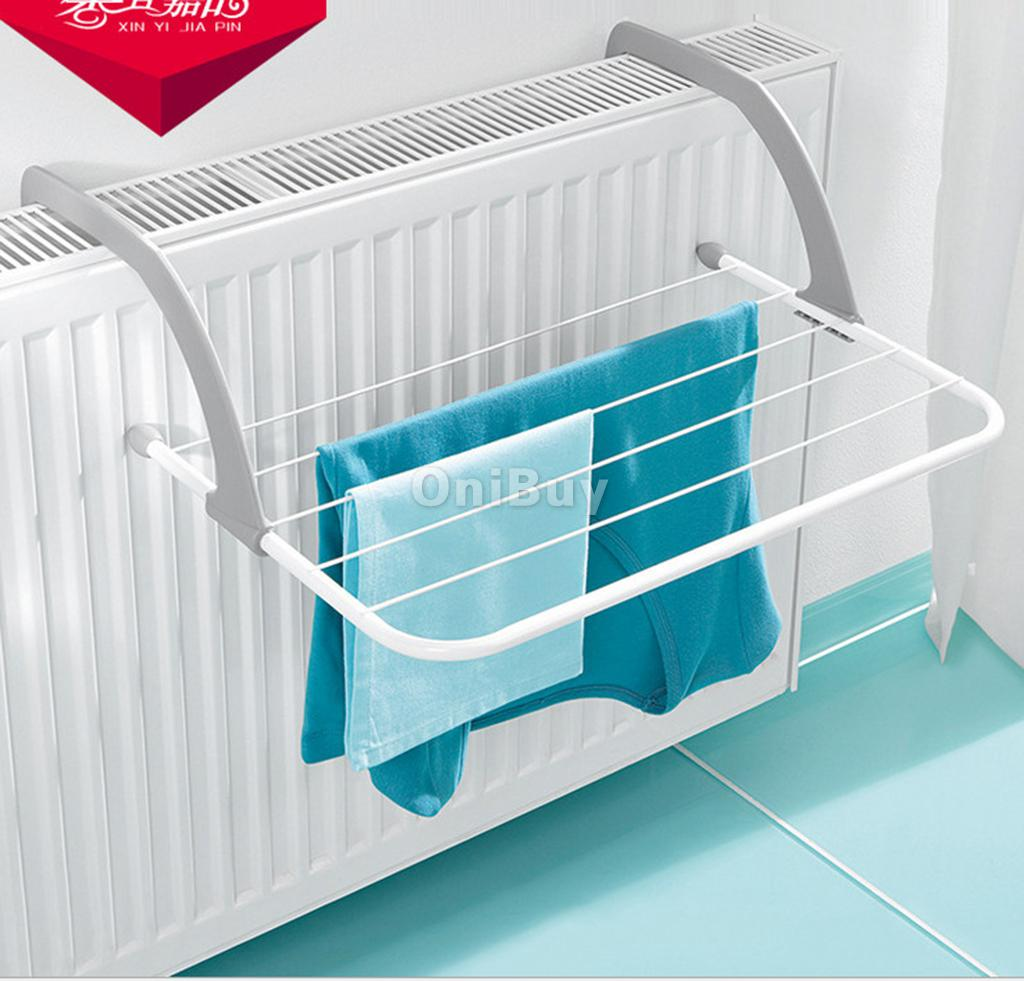 5Bar Metal Portable Radiator Hanging Shelves Clothes Dryer Airer ...