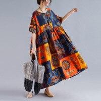 Johnature Лето Богемия плюс размер платье женское нерегулярный принт с круглым вырезом короткий рукав Высокая талия корейские женские платья