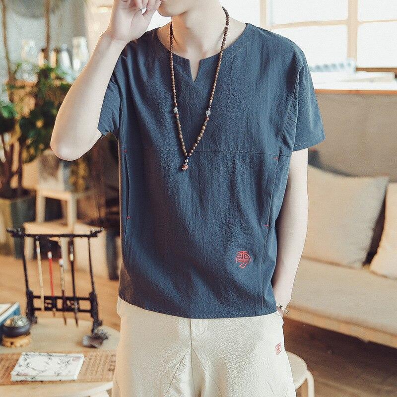 2019 New Summer Embroidery V-neck Men's Shirt Fashion Cotton Linen Loose Trendy Short Sleeve Shirt Fashion Brand Top Coat