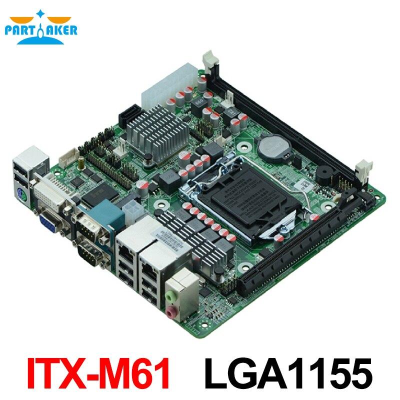 MINI_ITX Industrial embedded motherboard ITX_M61 support LGA1155 Intel Core i3/i5/i7 Pentium 22nm/32nm CPU with 9*USB/6*COM