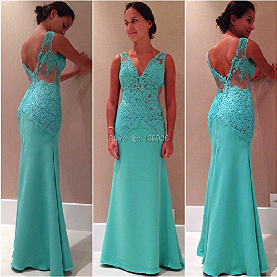 2015 Sexy Deep V Neckline Prom Dresses Bodice in Appliques Turquoise ...