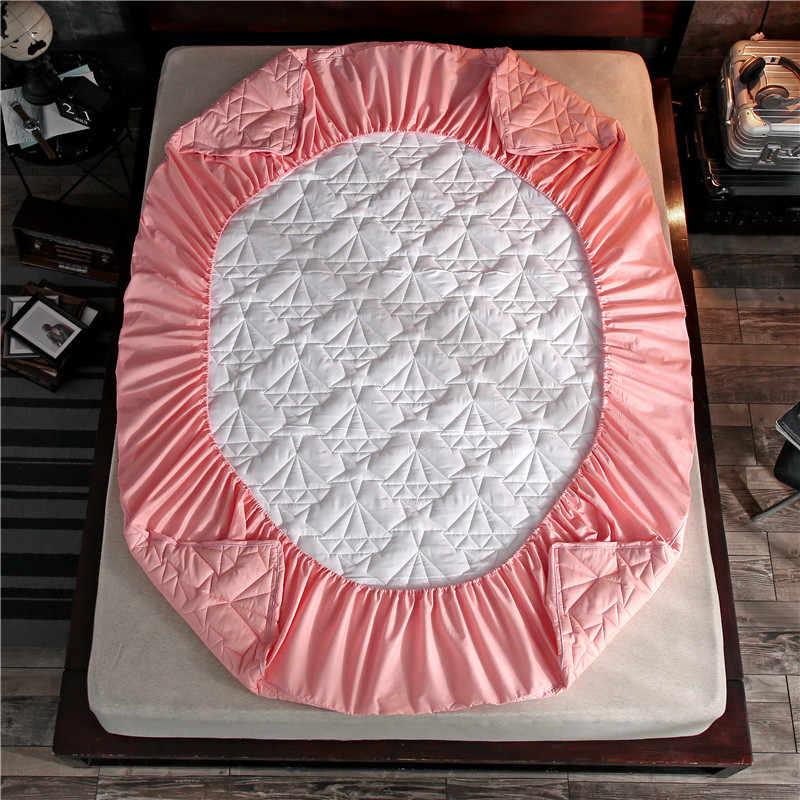 Милый розовый бриллиант Узорчатое стеганое одеяло 3 шт. 100% хлопок простыня в полоску матраса четырех углах с Эластичная лента простыня