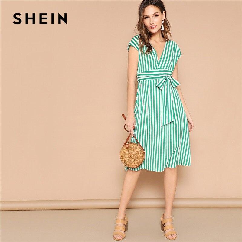 SHEIN Green Boho с глубоким v-образным вырезом, смешанные полосатые платья-миди с поясом, женские летние повседневные платья трапециевидной формы с...