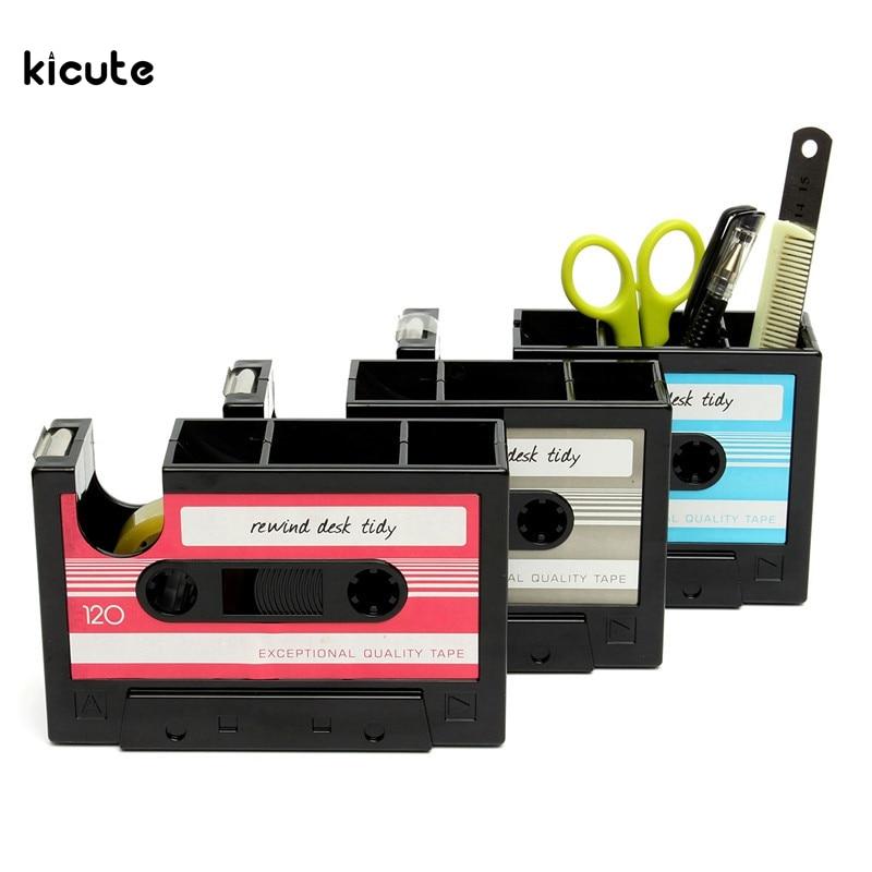 Desk Tidy aliexpress : buy retro cassette adhesive tape holder pen