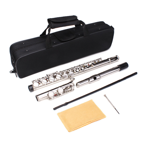 LADE Silver Plated 16 Closed Holes C Key Flute Western Concert With Cleaning Cloth Stick Gloves Screwdriver