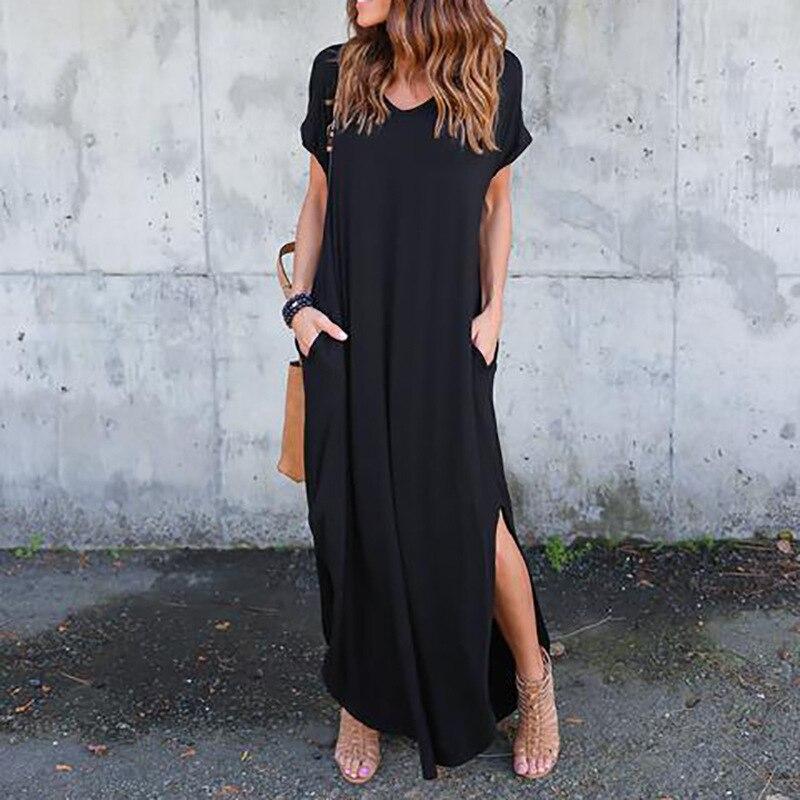 Summer Casual Loose Maxi Dress For Women Plain Gray Black Crew Neck Short Sleeve Long Dress Shift Side Split Beach Dresses
