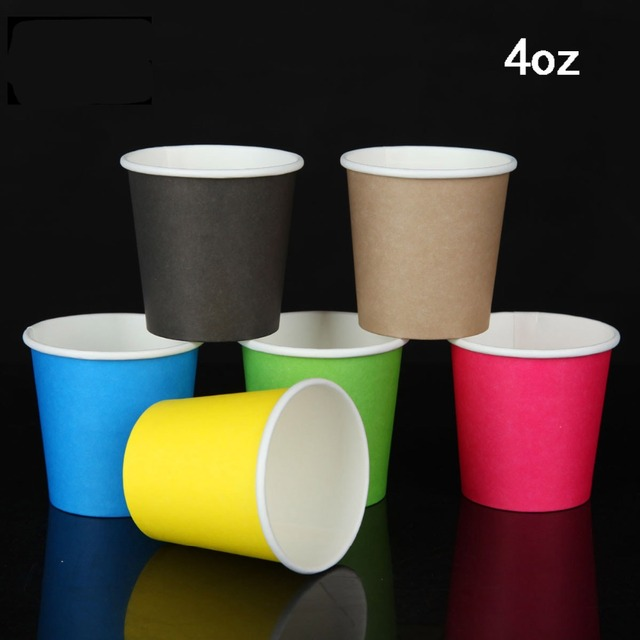 400 X 4oz Disposable Thicken Paper Tasting Cup Colorful Coffee Drinking Cups 100ml Whole