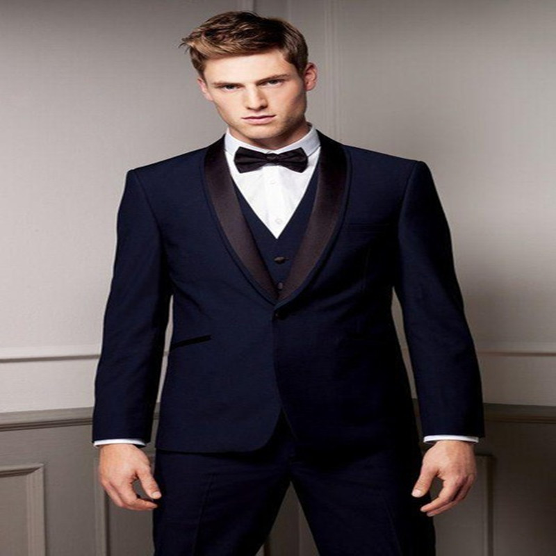 2017 New Arrival 3Pieces Fashion Terno Masculino One Button Custome Made Wedding Men Suits jacket+pants+vest