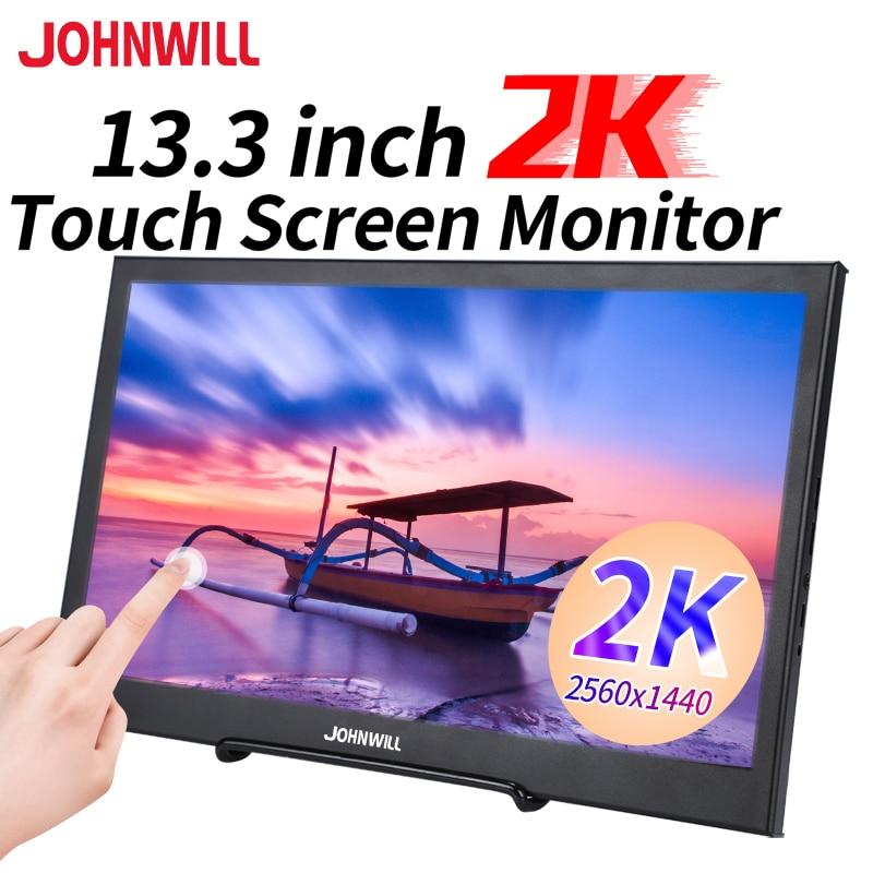 """13.3 """"2k monitor de tela sensível ao toque 2560*1440p monitor portátil hdmi para computador portátil computador portátil anfitrião publicidade câmera do carro mini tv ps4 xbox switch"""