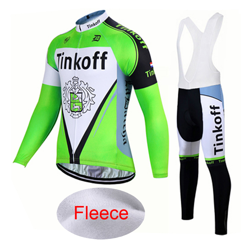 Winter Thermal Fleece 2017 Long Sleeve Cycling Jersey Ropa Ciclismo Invierno/Fluor Green Tinkoff Bicicleta Mountain Bike Clothes