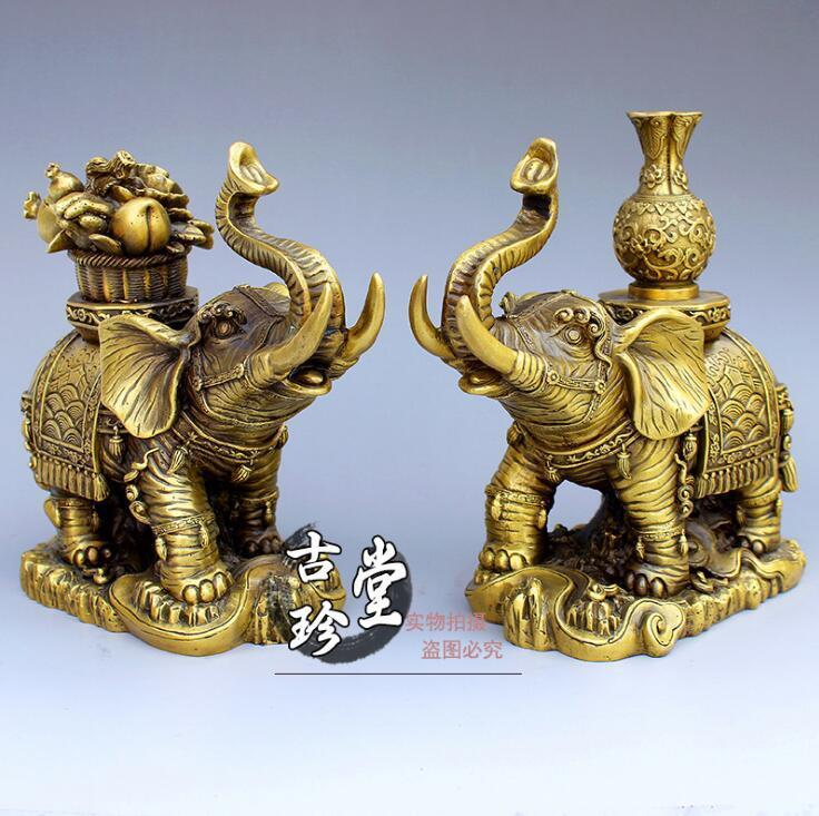 Chinese Dynasty Palace Bronze Copper Feng shui Wealth Elephant Statue Pair Set