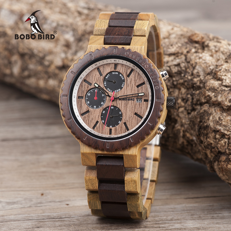 BOBO BIRD Men Watch Elegant Color Wood Watches Stylish and Original Wristwatch relogio masculino Custom Gorgeous