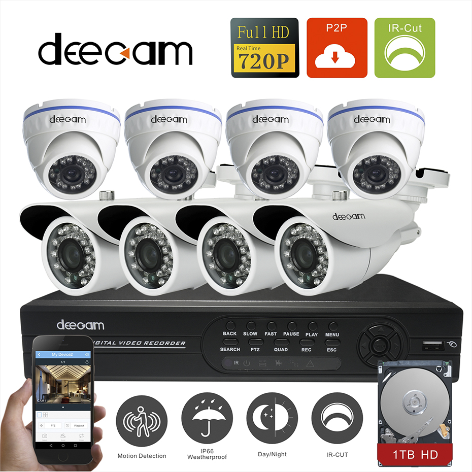 Deecam CCTV Camera 8PCS 720P 1200TVL HD 8CH  AHD  System Video Surveillance Security Camera System 8 channel DVR Kit with 1T HDD greatech hd 8 channel ahd dvr kit 720p video surveillance security outdoor indoor cctv 8 cameras 1200tvl ahd system 8ch