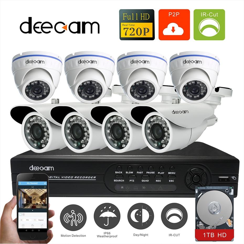 Deecam CCTV Camera 8PCS 720P 1200TVL HD 8CH  AHD  System Video Surveillance Security Camera System 8 channel DVR Kit with 1T HDD 1400tvl ahd camera 8ch 720p video surveillance security camera system 8 channel cctv dvr kit system p2p wifi