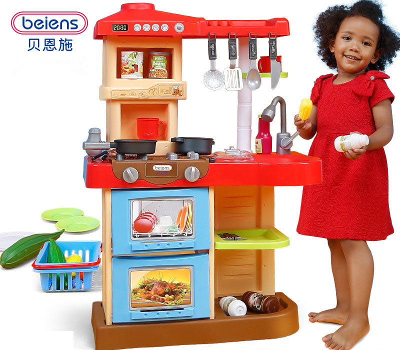 Beiens Brand Toys Kids Kitchen Set Children Kitchen Toys Large Kitchen Cooking Simulation Model Play Toy for Girl Baby children girl toys play house kitchen cooking simulation kitchen cooking playsets baby nursery baby playing housecozinha