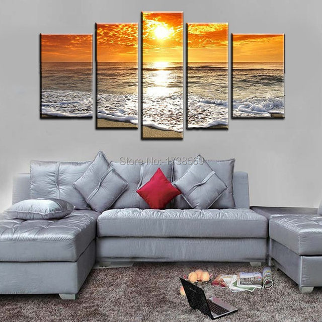 5 Panel Wall Art Picture Modern Home Decoration Canvas Print Orange Sunset  Wave Painting Printed On Canvas For Living Room F0192