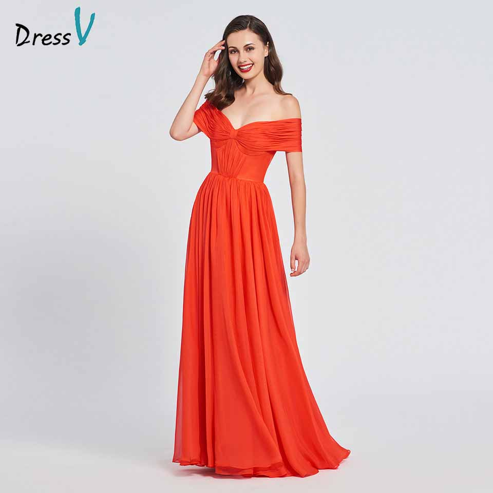 Dressv orange red elegant a line long prom dress off the shoulder floor length evening party gown prom dresses customize