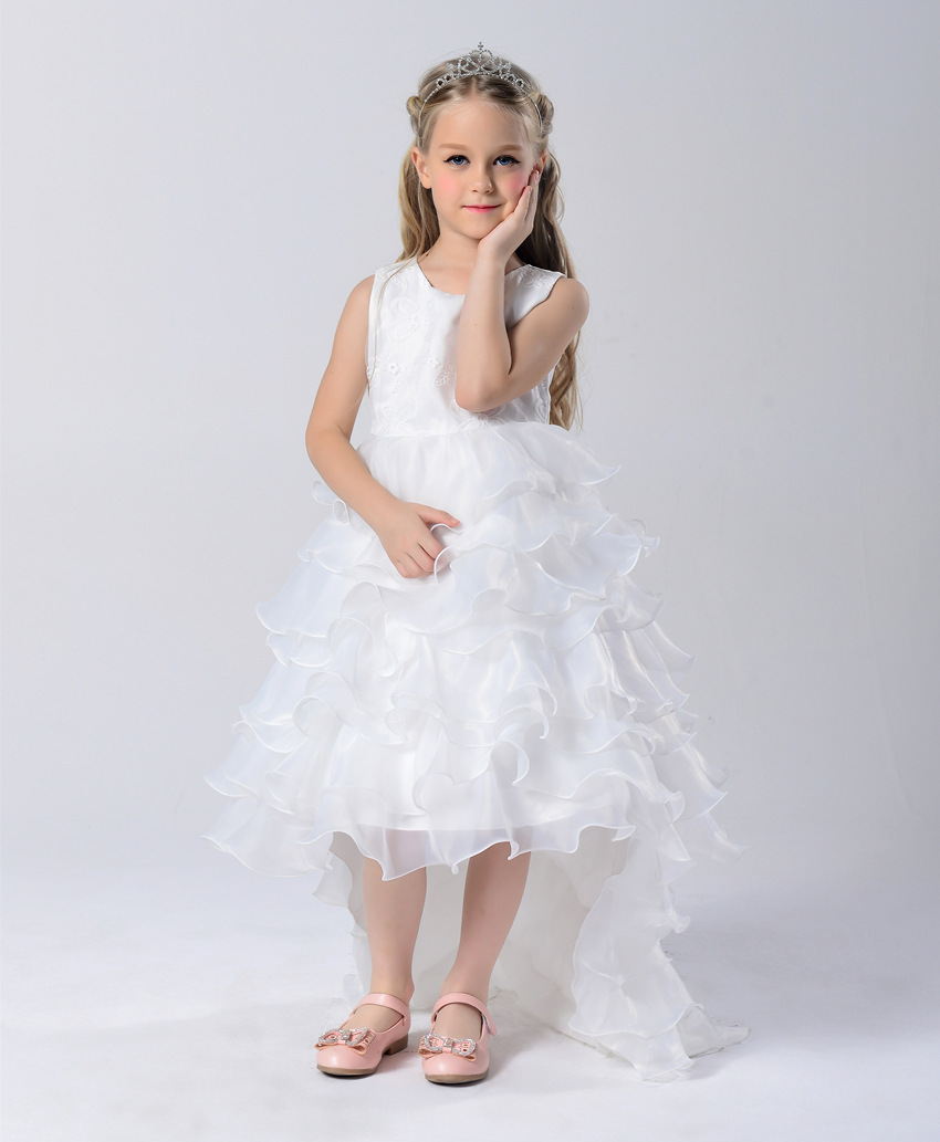 Toddler Girl Princess Graduation Girl Dress Wedding Party High Quality Bridesmaid Kids Sleeveless Lace Tulle White Tutu Dress ems dhl free shipping toddler little girl s 2017 princess ruffles layers sleeveless lace dress summer style suspender