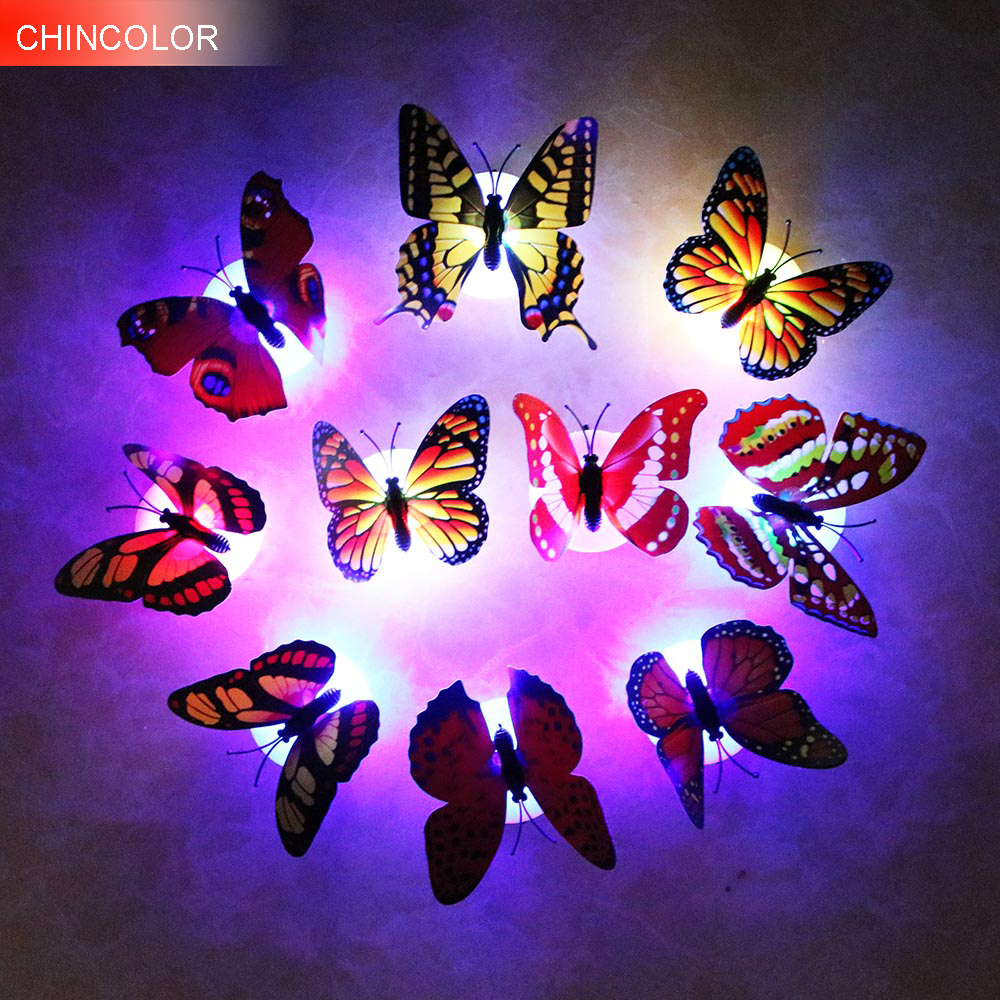 10pcs/lot Color Light Butterfly Wall Stickers Easy Installation Night Light Home Living Kid Room Fridage Bedroom Decor L