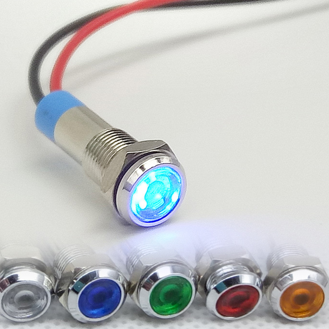 1Pc Waterproof 6mm LED Metal Indicator Light Signal Lamp 6V 12V 24V 220v With Wire Red Yellow Blue Green White