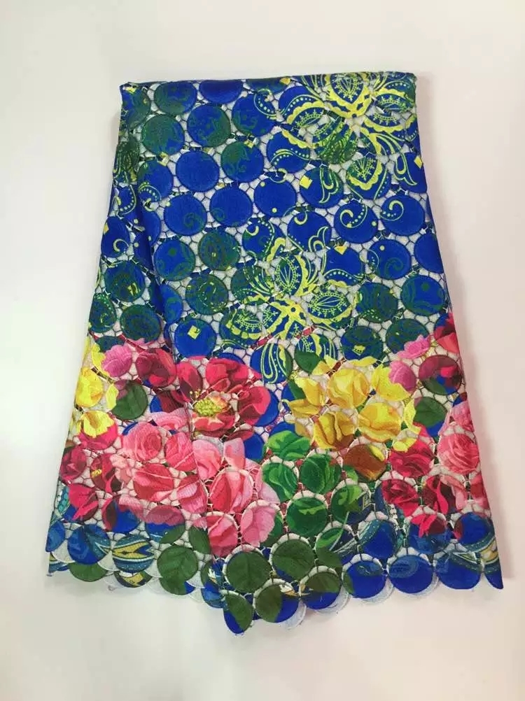 Colorful guipure lace fabric High Quality African Swiss Voile Lace Fabric 5YARDS free shipping J20Y