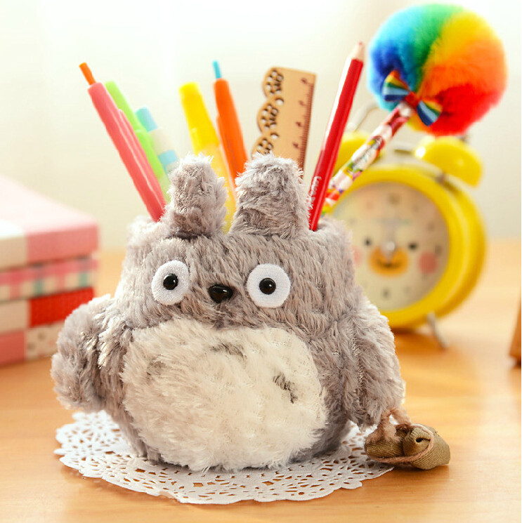 Cute Kawaii Totoro Plush Pen Pencil Holder Case Storage Holder Desktop Decor Gift Student Stationery School Office Supply BD02 j26 kawaii cute moomin canvas pen bag pencil holder storage case school supply birthday gift cosmetic makeup travel