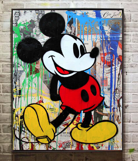 Modern Mickey Mouse Abstract Graffiti Art Oil Painting Wall Decoration Picture Print On