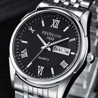 Relogio Masculino Fedylon Fashion Watch Men Top Brand Luxury Business Watches Stainless Steel Week Calender Mens