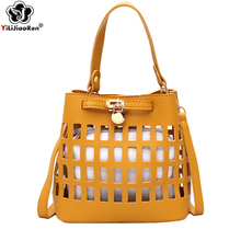 Fashion Hollow Out Women Handbag Summer Beach Bag Famous Brand Leather Bucket Bags for 2019 Simple Shoulder Borsa Mare