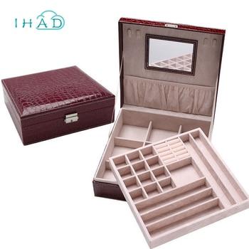 Crocodile pattern PU Leather dressing box jewelry organizer necklace Rings Beads storage boxes with mirrror makeup dresser caske makeup organizer box