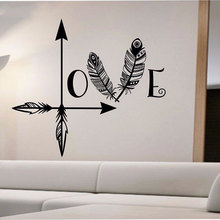 Bohemian style wall sticker vinyl wall decal home bedroom feather compass decorative art stickers ZM01 недорого