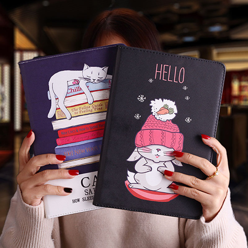 Tablet Protective Case For Ipad Mini 1 2 3 Flip Smart Stand Cover Pu Leather Cat Cartoon Illustration Case For Ipad Mini 4 5