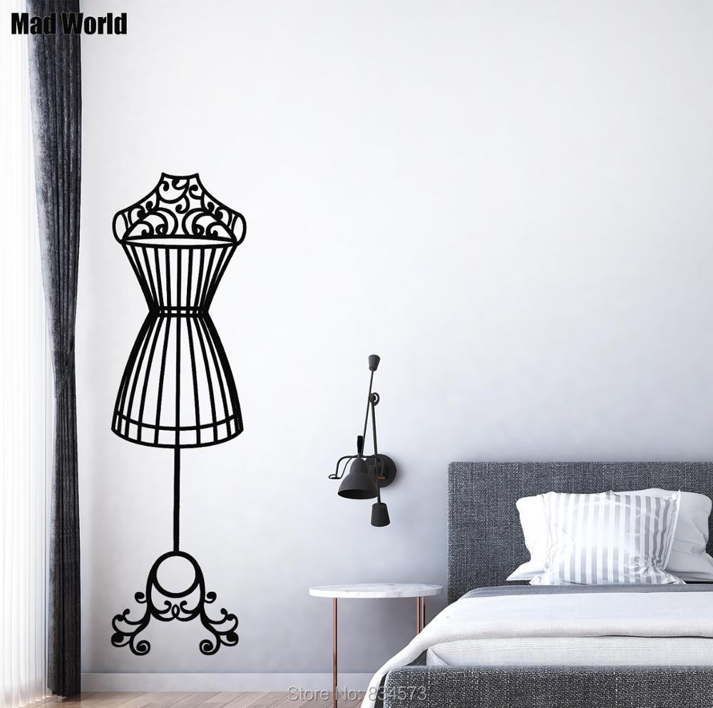 Mad World Elegant Mannequin Silhouette Wall Art Stickers