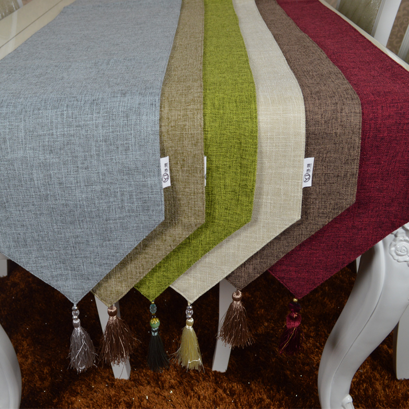Custom Made Table Runner Cover 30 X 140 160 180 200 220 240 260 280cm Cotton Linen Solid Red Blue Orange Green White Gray Tea