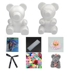 1 шт., 15 см/20 см/30 см, форма в виде розового медведя, сделай сам, для подарка, полистирол, пенопласт, шар, Искусственный цветок розы, медведь