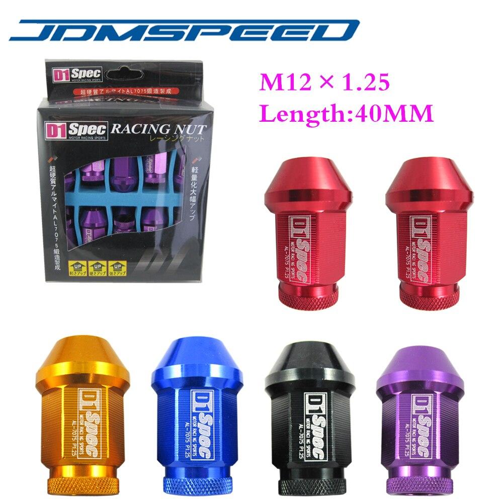 Xpower-20 шт/набор Универсальный D1 spec JDM гонки 40 мм колеса гайки M12X1.25 Подходит для Nissan Subaru Infiniti (p: 1.25 л: 40 мм) ...