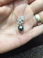 Natural black pearl pendant 8 9MM perfect round 18K gold with diamond tahiti pearl trojan horse pendant fine women jewelry