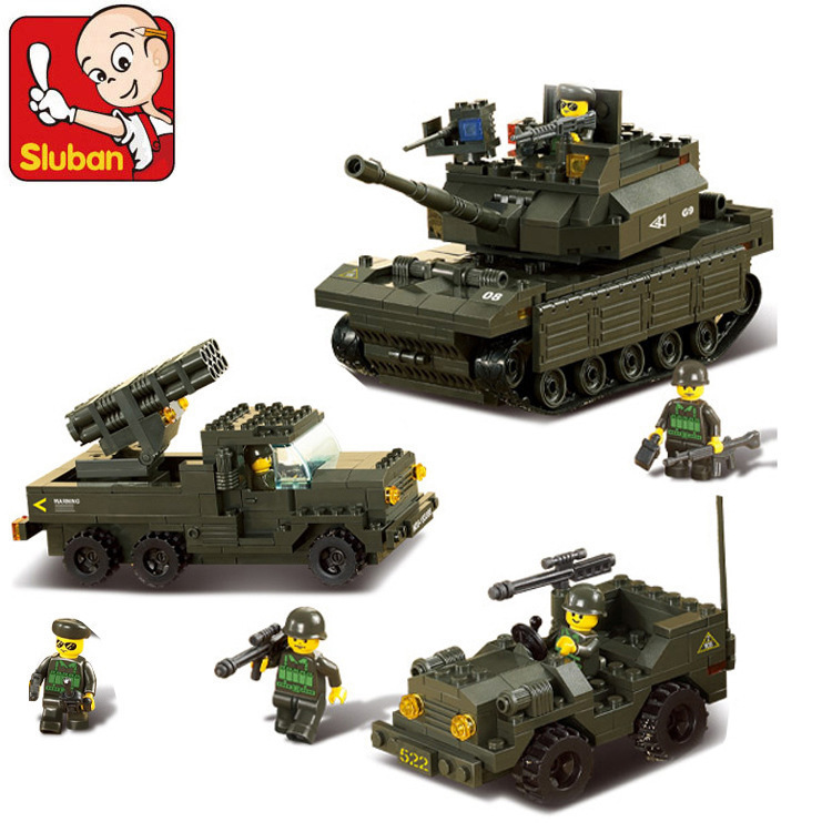 Sluban Model building kits compatible with lego city Marine Corps Tank 995 3D blocks Educational toys hobbies for children sluban model building kits compatible with lego city tank 681 3d blocks educational model