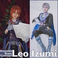 [Personalizza] + Mantello Anime Ensemble Stelle Memoria Nero/Bianco Gen. figura Leo Izumi Squadra SJ Uniforme Halloween costume Cosplay NEW2018