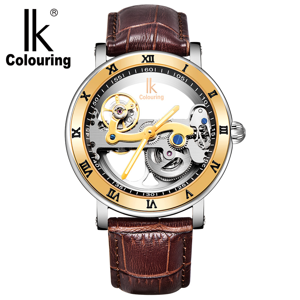 IK Coloring Male Clock Men's Mechanical Wrist Watch Bridge Leather Strap Skeleton Wristwatch Automatic reloj hombre ik coloring bridge analog display mechanical male clock automatic wristwatch golden bezel skeleton watches relogio masculino