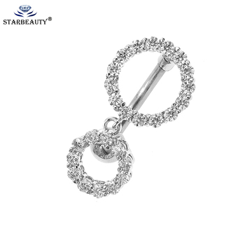 1Pc Full CZ Dangle Ball Button Barbell Bar Belly Navel Ring Body Piercing  women' Fashion Gift 2