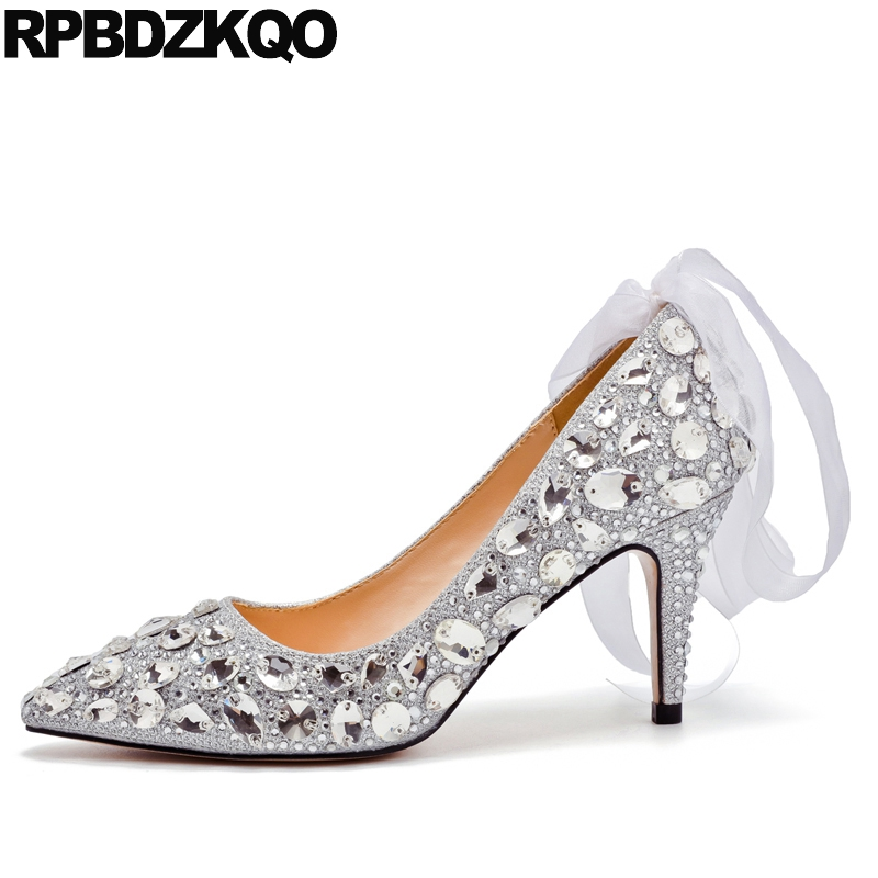 Crystal Size 4 34 Silver Bling Wedding Shoes Bride High Heels Pointed Toe Glitter Rhinestone 33 Ladies Pumps Stiletto 3 Inch 4 34 small size gold shoes wedding pointed toe 7cm 3 inch satin high heels stiletto 33 flower pumps ladies colourful embroidery